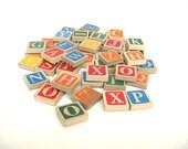 Vintage Wood Letter Tiles, 50 Pieces, Ridged Back