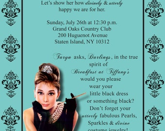 """Breakfast at Tiffany's Theme Bridal Shower Invitation """"EACH""""  (WITH ENVELOPES)"""