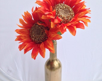 Gold Painted Wine Bottle Vase with Artificial Sunflowers