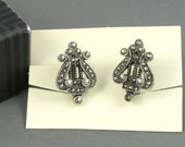 Vintage AVON Lyre Faux Marcasite Clip Earrings (1992) w/ Original Box. Vintage Avon Earring. Vintage Avon Jewelry. Musical Theme Jewelry.