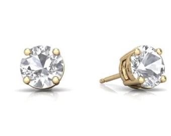 14Kt Yellow Gold White Topaz Round Stud Earrings