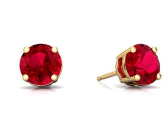 14Kt Yellow Gold Ruby Round Stud Earrings