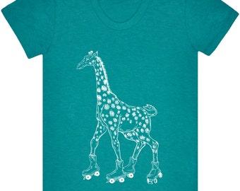 Giraffe On Rollerskates Shirt.Women's American Apparel Tri-Blend Shirt Tee.Giraffe Shirt.Giraffe Shirt.Rollerskates Tee.Rollerskates Shirt