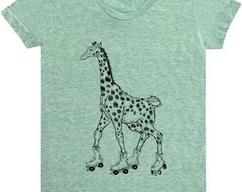 Giraffe On Rollerskates Shirt.Women's American Apparel Tri-Blend Shirt Tee.Giraffe Shirt.Rollerskates Tee.Rollerskates Shirt.Giraffe Tee
