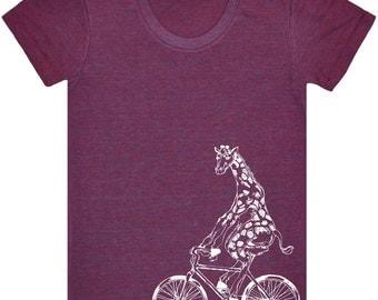 Giraffe On Bicycle T Shirt.Women's American Apparel Tri-Blend Track Shirt.Bicycle Shirt.Bicycle Tee.Giraffe Shirt.Bicycle Shirts.Giraffe