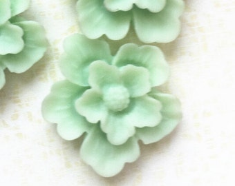 12 pcs of sakura flower cabochon-22mm-rc0166-44-mint green