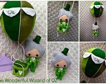 Wizard of Oz Doll -  Felt Collectable - Wonderful Wizard - Made To Order Collectable & Balloon