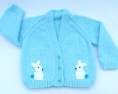 Baby sweater. Hand knitted turquoise baby cardigan 3 to  6 months