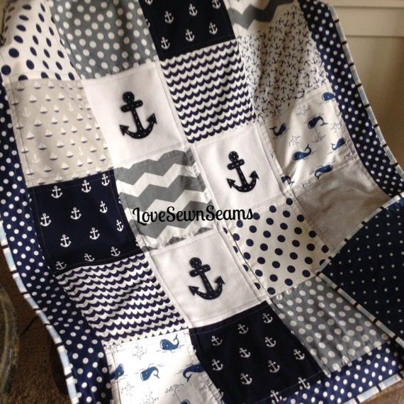 Anchor And Whimsical Whale Quilt In Navy Gray Amp White
