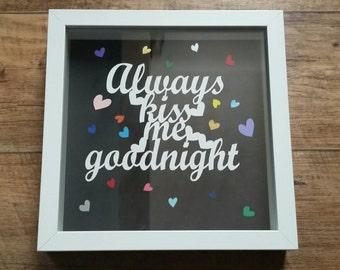 Always kiss me goodnight hand cut floating papercut