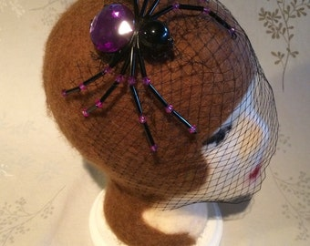 Beaded spider veil - black and purple - perfect halloween costume fascinator