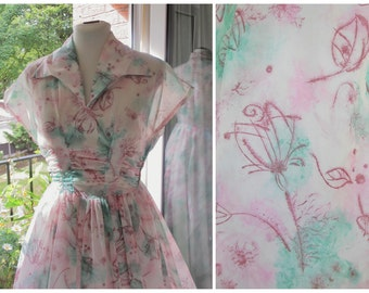 1950s Dress 50s Pink Green Floral Dress Sheer Nylon Organza Dress 1950s Full Skirt Ruched Dress S / M