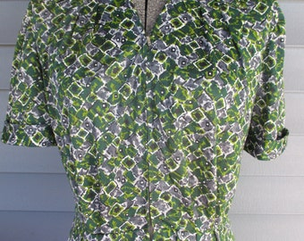 1940s Style Dress - Green and Purple Print Zip Front Dress