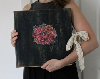 Handmade vintage style floral black wedding photo album | extra large photo album 12x12 inches - Made To Order
