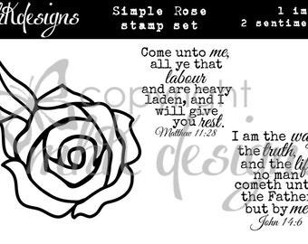 Simple Rose Digital Stamp Set