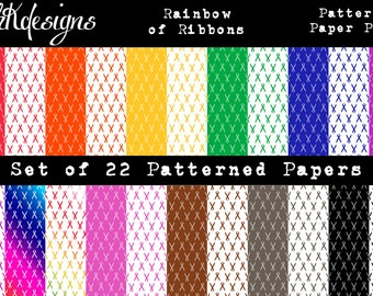 Rainbow of Ribbons Patterned Paper Pack