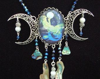 moon goddess necklace statement necklace mermaid necklace triple moon abalone mermaid jewelry resort wear high fashion gypsy boho
