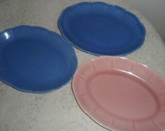 Vintage China Platters, 3 W S George Petalware China Platters, Colorful 1940 s Retro china in Georgette Pattern