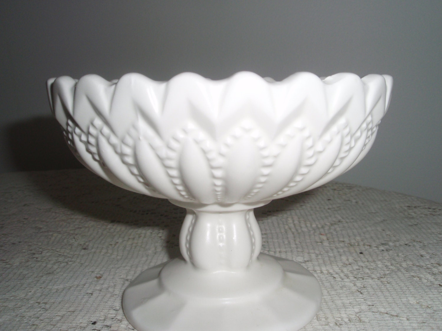 Vintage white compotefooted candy dish compote centerpiece
