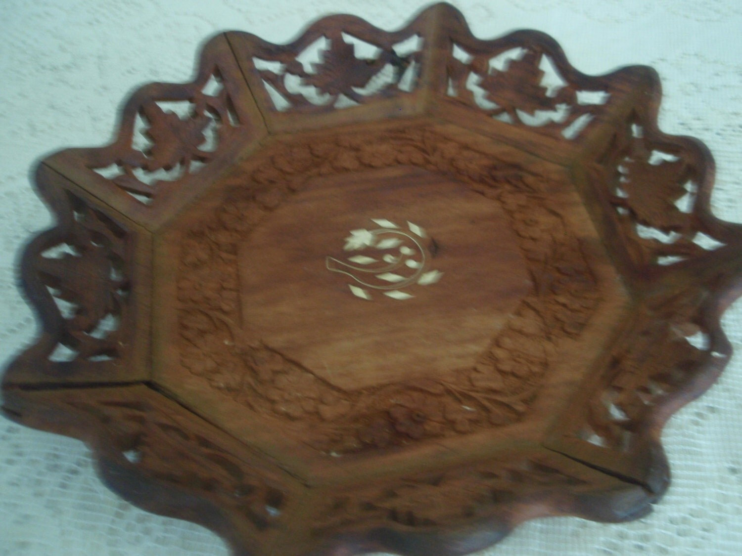 Vintage Hand Carved Wood Bowl Floral And Cut Out Design