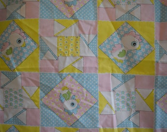 Vintage Patchwork Print / Baby Chick Fitted Crib Quilt