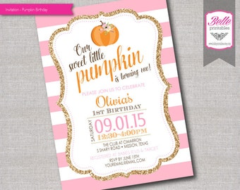 Birthday Invitation - Pumpkin and Stripes for Girl- DIY Printable - Gold Glitter and Pink