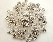 Silver Clear Rhinestone Brooch Flatback Embellishment or Pin Large Rhinestone Flower broach Crystal Brooch Wedding Brooch Bouquet DIY  sc13