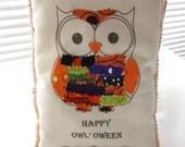 Halloween Owl Pillow Appliqued Word Pillow Happy Halloween Decor Fall Fabric Scrap Pillow Stuffed Owl Ruffle Pillow Orange purple Owl