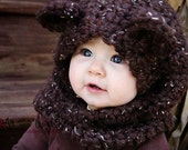 Crochet Bear Hooded Cowl