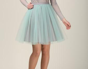 SHORT grey and mint tulle skirt, Light tulle skirt, Handmade tutu skirt, Adult tulle skirt, Adult tutu skirt, Tulle petticoat
