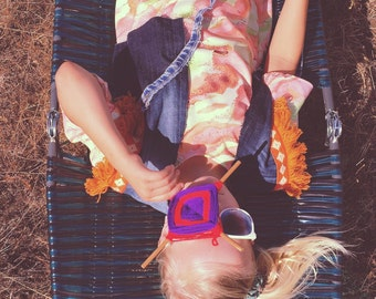 Girls Jean Vest Revived Denim Western Tribal Hippie