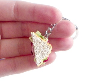 Sandwich Keychain - Ham and Cheese, Miniature Food