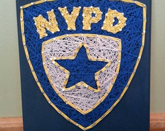 "8x10"" NYPD New York Police Department Officer Badge on Navy Blue Background String Art Plaque"