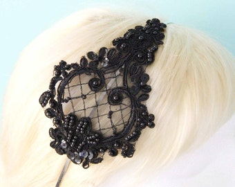 Black Beaded Lace Headband, Bridal Black Lace Head Piece, Bridesmaid Headband, Flower Girl Headband