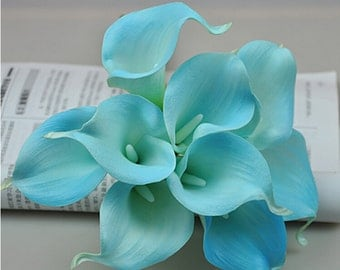 Pool Blue Calla Lily Bouquet Wedding Decorative Flowers Real Touch Mini Calla Lilies Bouquet 9 Stems Artificial  Bridesmaids Bouquet