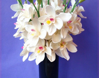 Latex White Cymbidium Orchid Real Touch Wedding Centerpieces Flowers 5 Flower Heads 2 Buds