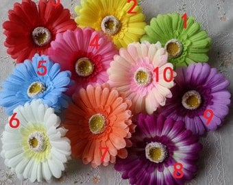 "10pcs 4"" Silk Gerbera Daisy Fake Flower Heads For Crafts CoragesWedding Party Decoration Wholesale Lots"