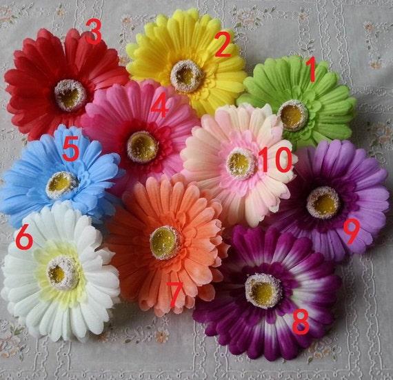 10pcs 4 silk gerbera daisy fake flower heads for crafts for Flower heads for crafts