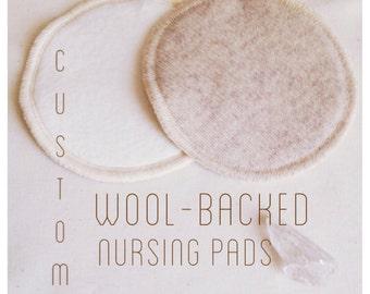 Custom Wool-Backed Nursing Pads -- Organic Hemp & Cotton Fleece with Re-Purposed Wool -- Re-Usable Nursing Pads -- Wool Nursing Pads
