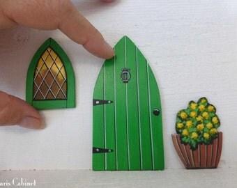 Set of Green Door Window & Flower Pot Hand Painted Fairy Door Stained Glass Window Miniature Magic Door Art Acrylic Painting on Wood #128
