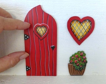 Set of Red Door Heart Window and Flower Pot Magical Fairy Doors Hand Painted on Wood Art Acrylic Painting #132