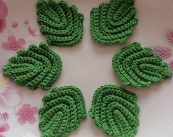 6 Crochet  Leaves In Green YH-217-02