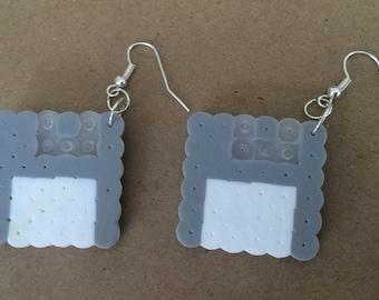 Small 8 Bit Floppy Disk Perler Earrings