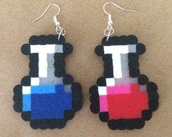 8 Bit Gamer Inspired Health and Mana Bottle Perler Earrings
