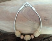 Large Wooden Bead & Rope Necklace