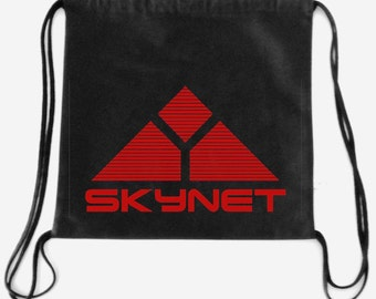skynet logo terminator  inspired drawstring backpack  Cotton canvas 35x35cm