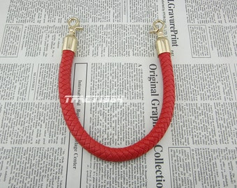 16 inch long Red Synthetic Leather Purse Handle