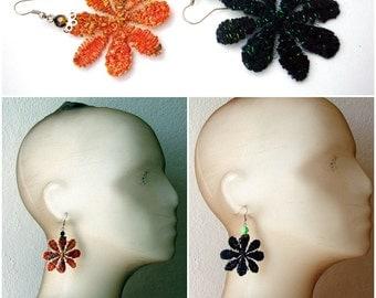 Lace earrings, Black flower earrings, Orange floral earrings