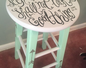 psalm 34:10 mint and silver stool
