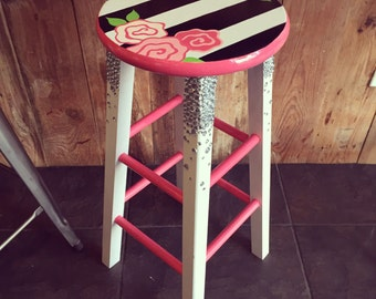 Black and white striped floral barstool
